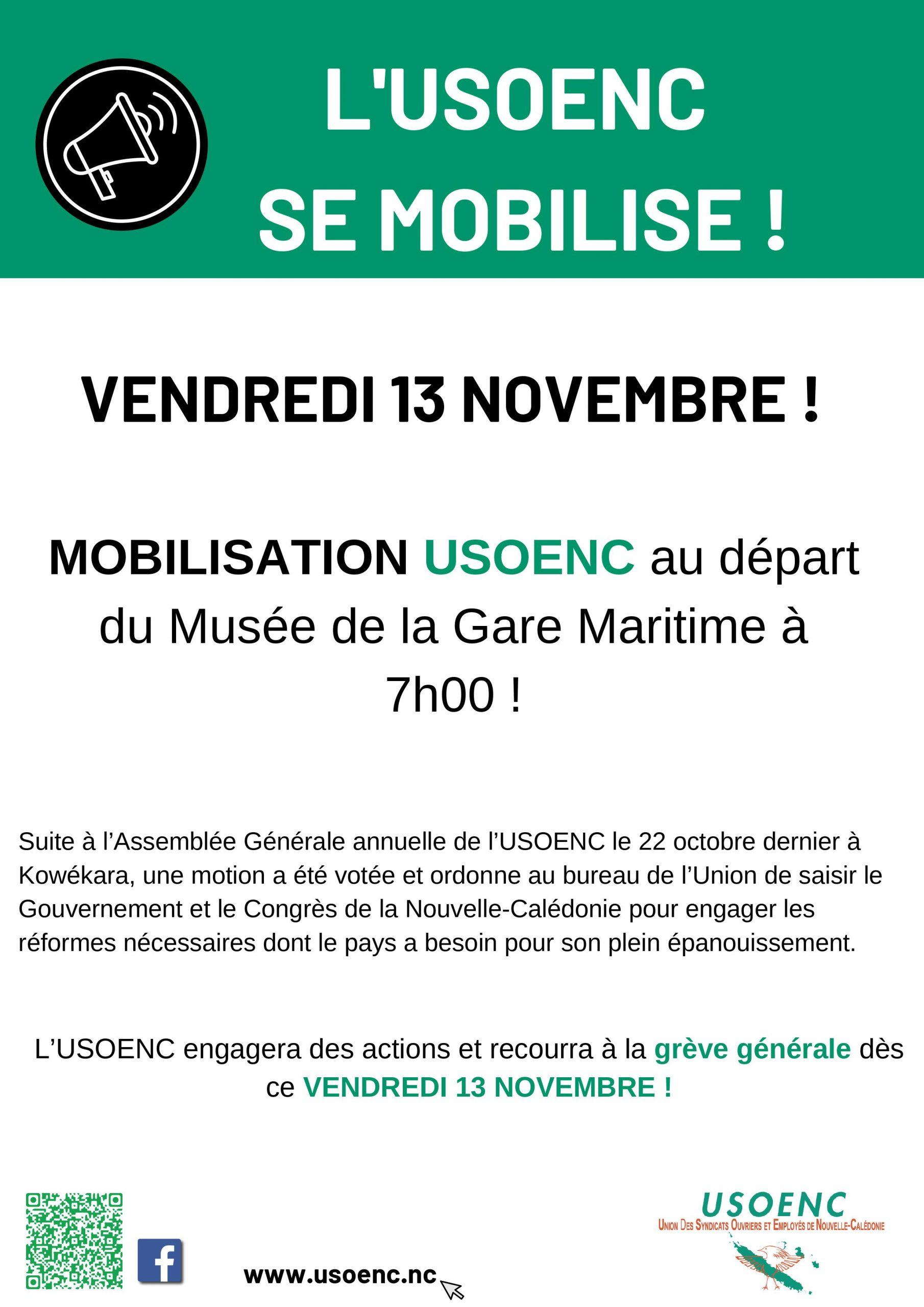 L'USOENC se mobilise, le vendredi 13 novembre !