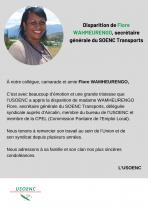 Disparition de Flore WAHMEURENGO, secrétaire générale du SOENC Transports