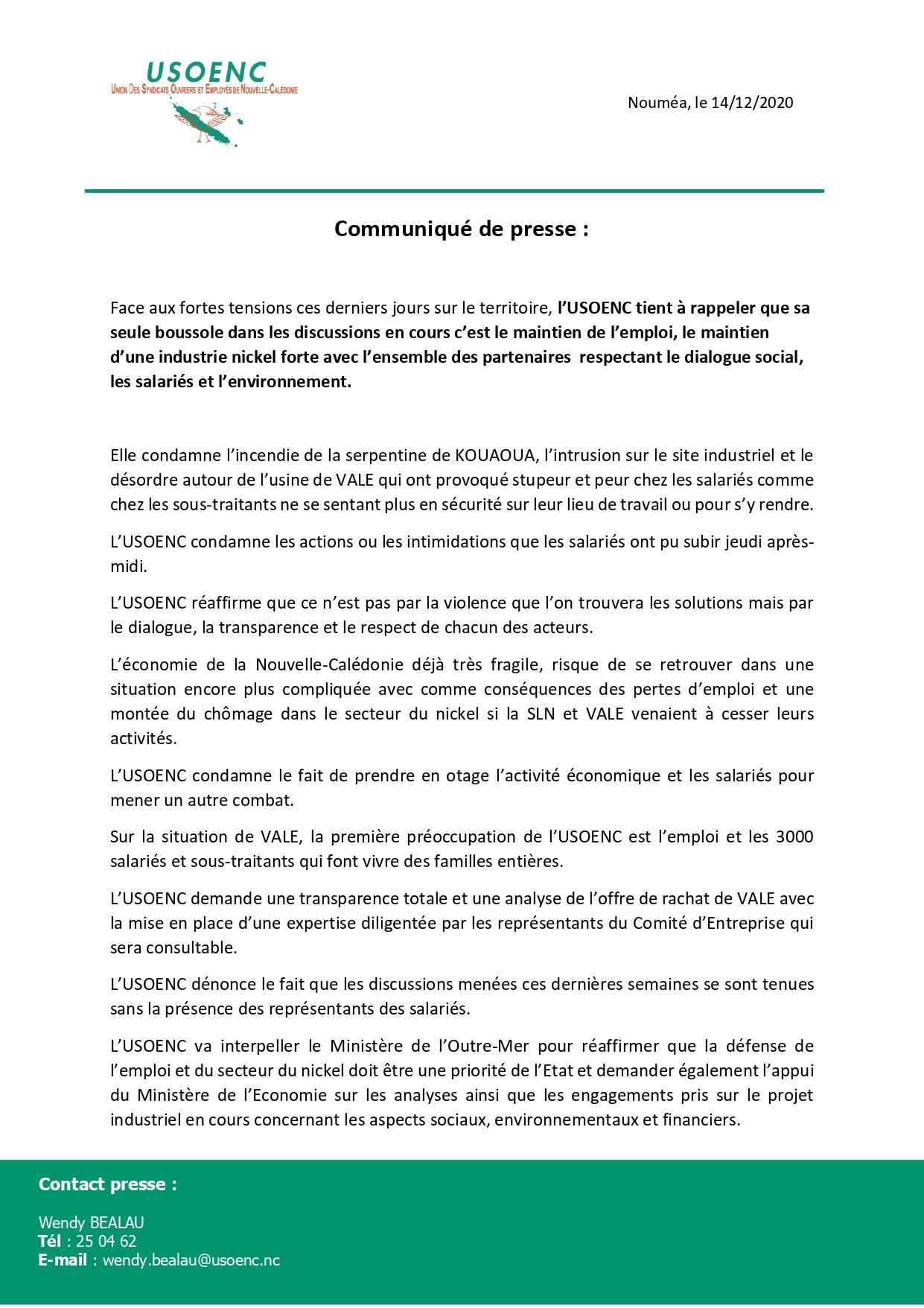 Communiqué de Presse : USOENC quant à la situation de l'Usine du Sud