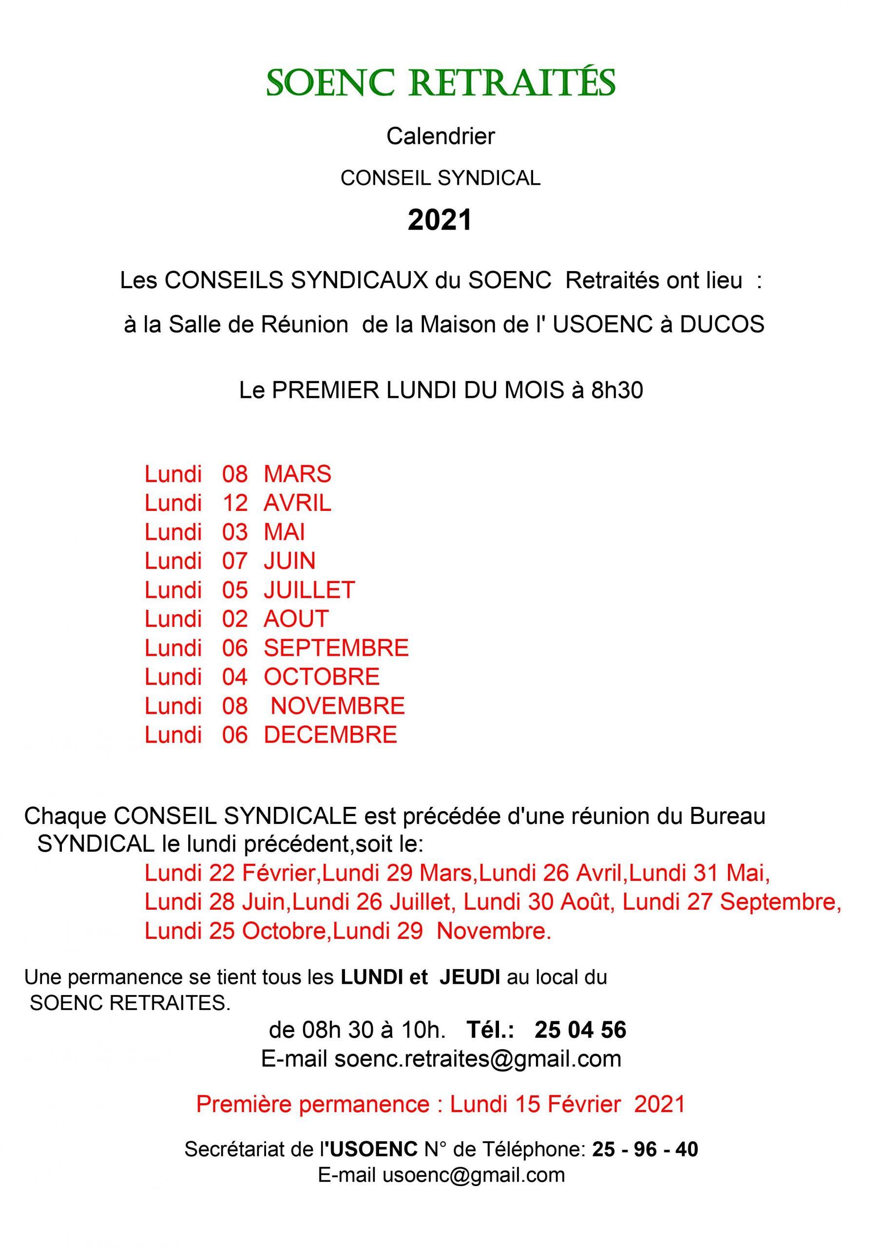 Calendrier des conseils syndicaux 2021 du SOENC retraités
