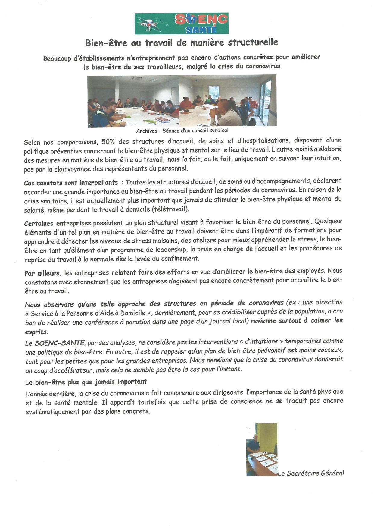Information du SOENC Santé : «bien être au travail de manière structurelle»