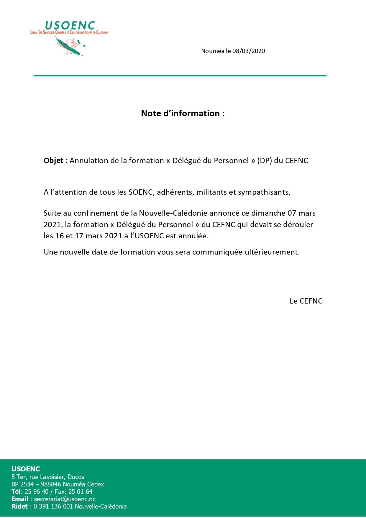 Annulation de la formation DP du CEFNC