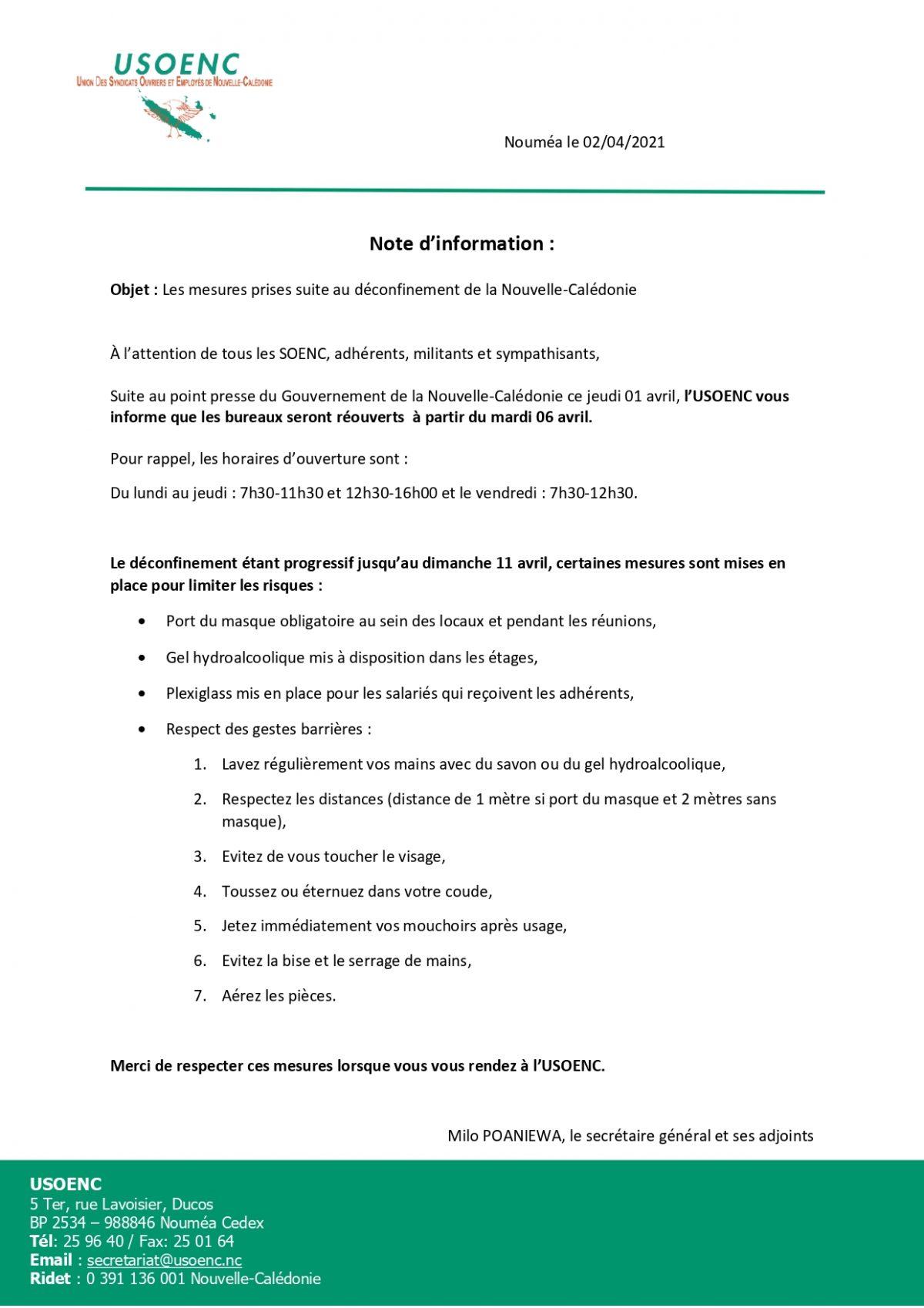 NOTE D'INFORMATION : Les mesures prises suite au déconfinement pour la réouverture de l'USOENC