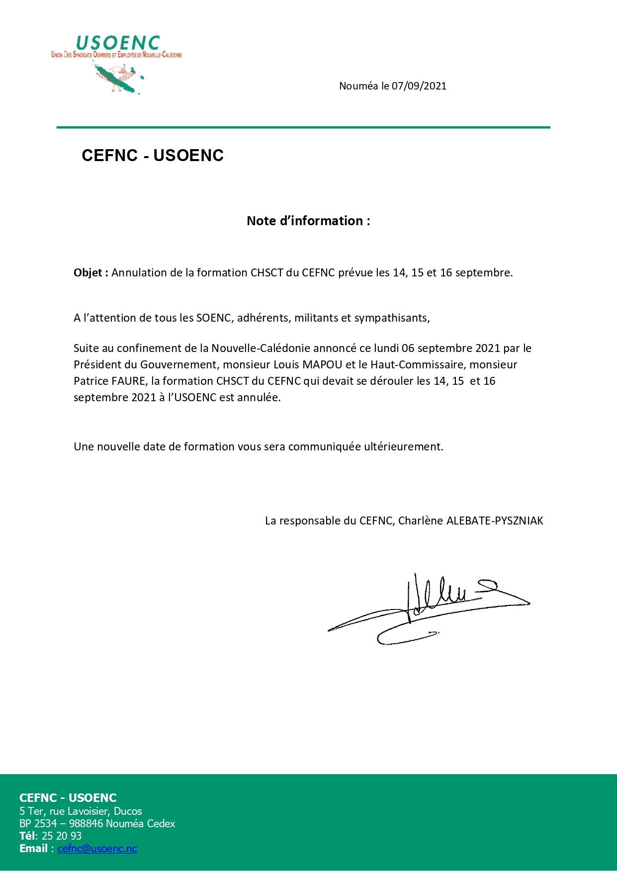 CEFNC : Annulation de la formation CHSCT prévue les 14, 15 et 16 septembre