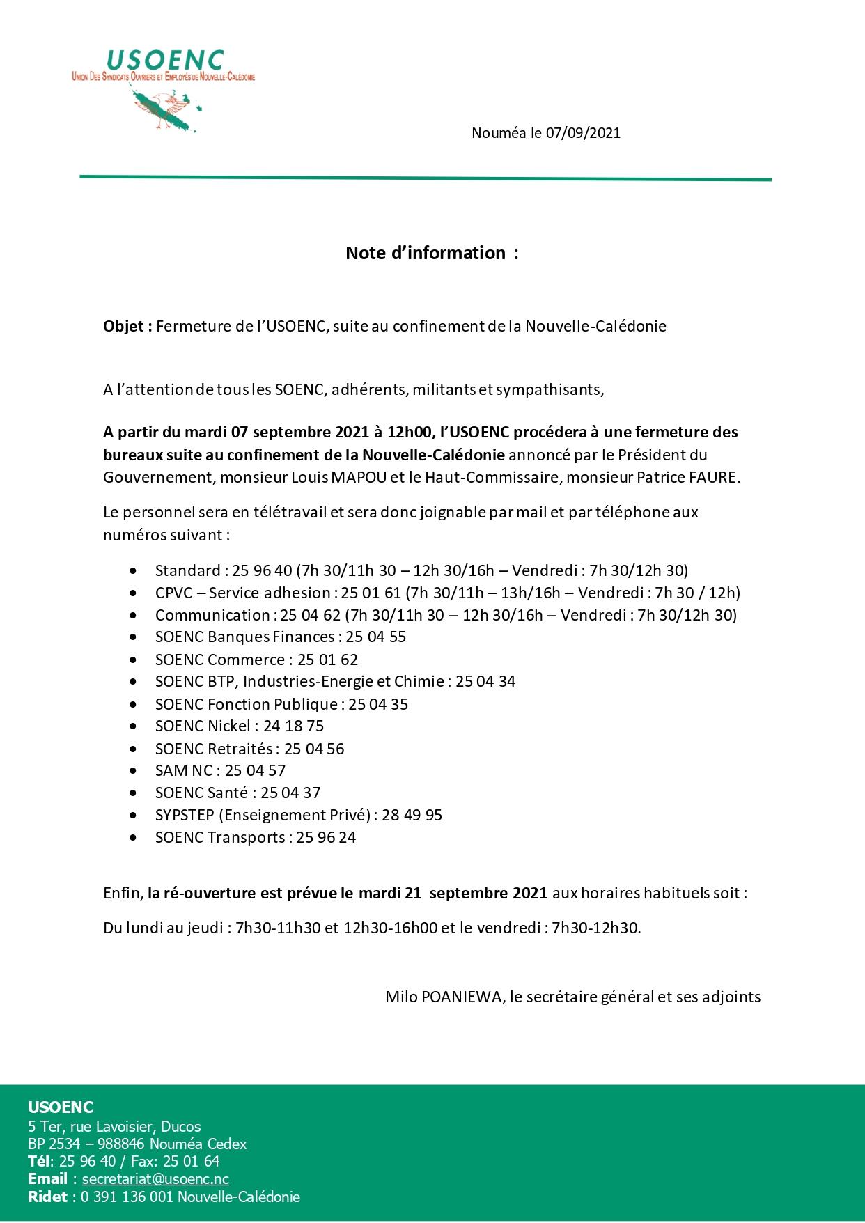 Fermeture de l'USOENC ce mardi 07 septembre dès 12h00 suite au confinement de la Nouvelle-Calédonie