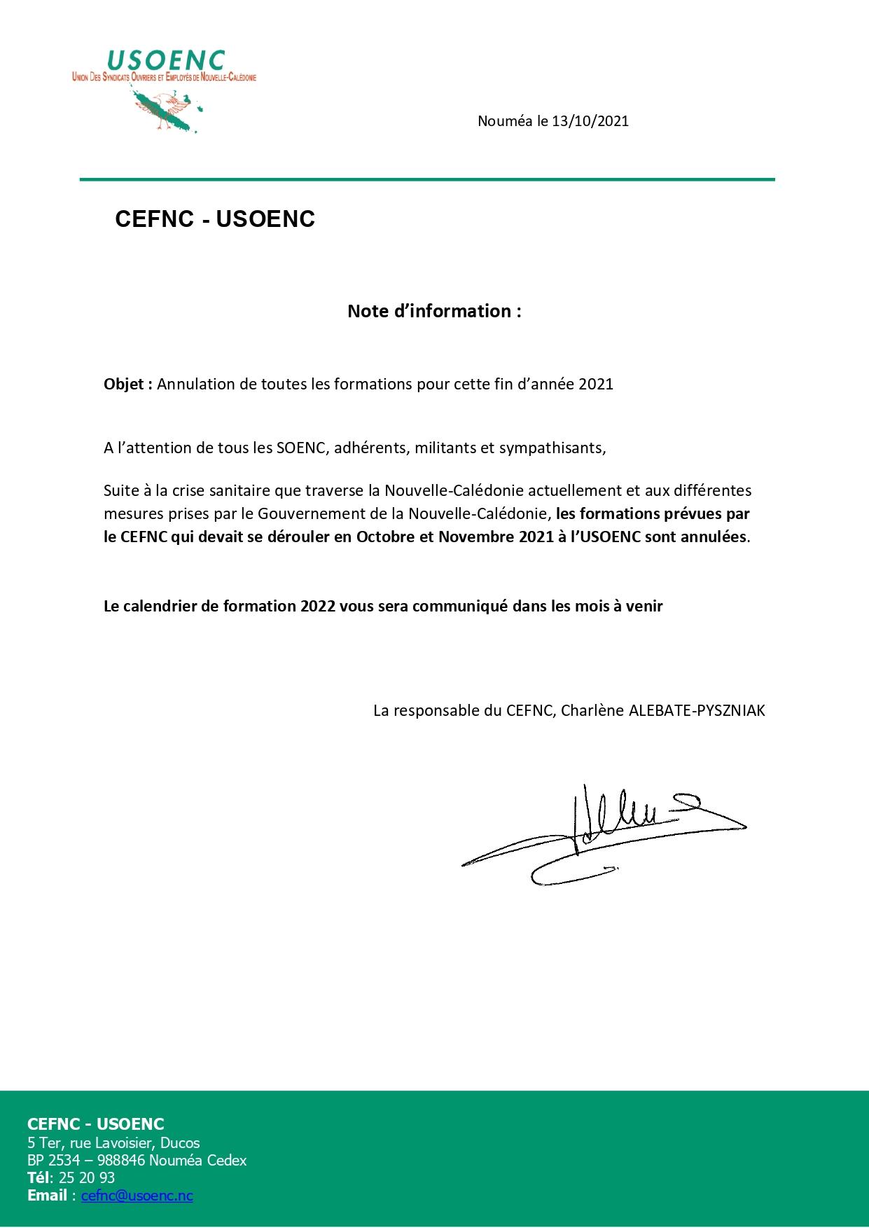 CEFNC : Annulation des formations pour cette fin d'année 2021